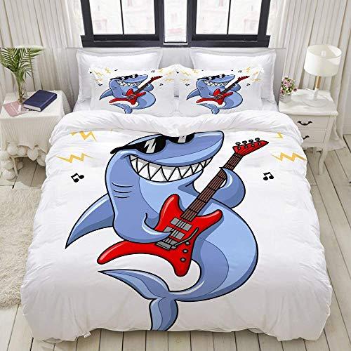 Juego de Funda nórdica, Gafas de Sol de tiburón de Dibujos Animados Vector de Guitarra eléctrica, Juego de Cama Decorativo Colorido de 3 Piezas con 2 Fundas de Almohada