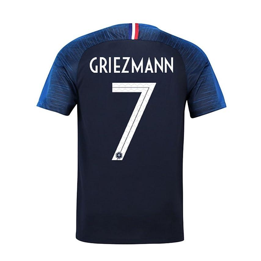 ラケット名義で違うサッカー2019 フランス代表 ユニフォーム 上下セット Griezmann 背番号7 Griezmann 子供用 (子供M,Griezmann) (M)