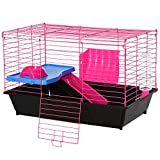 PawHut Chinchillas Small Rabbit Guinea Pig Small Animal Cage Pet Play House w/Platform Ramp Food Dish Water Bottle 72 x 44 x 47 cm