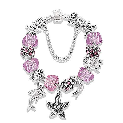 IJEWALRY Damenarmband Armbänder Armband,Eleganter Feiner Charme Silber Ozean Seestern Delfin Perlen Armband Kristall Charm Pan Armbänder & Armreifen Modeschmuck Geschenk