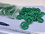 Plastic Project Wheels with 1/8' Hole - Made for Co2 Dragster Cars, Mousetrap Vehicles, and All Your Hobby Project Kits or Class Room Activities (Pack of 100) (Green)