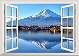 絵画風 壁紙ポスター はがせるシール式 -窓の景色- 逆さ富士 富士山 河口湖 鏡の湖面 開運 パワースポット 窓仕様 トリックアート キャラクロ FJS-016MA1 A1版 830mm 585mm 建築用壁紙 耐候性塗料