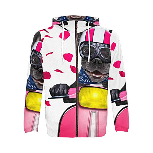 InterestPrint All Over Print Zip Up Hoodie Sweatshirt with Pocket for Men French Bulldog Driving a Motorcycle S