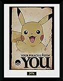 1art1 Pokemon - Dein Pikachu Braucht Dich Gerahmtes Bild Mit Edlem Passepartout | Wand-Bilder | Kunstdruck Poster Im Bilderrahmen 40 x 30 cm