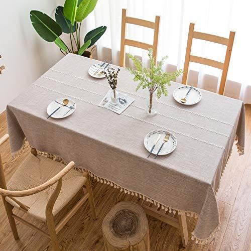 Mantel Impermeable De Lino De Algodón Mantel A Rayas De Color Sólido Mantel con Borlas Adecuado para Mesa De Café, Mesa De Café, Mesa De Comedor Espesar