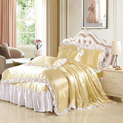 Bedding-LZ Copripiumino Matrimoniale Bianco,Summer Cool European-Solid Color Wash Simulation Silk Pongs Set Biancheria da Letto Doppia-K_2,0 m (Letto (4 Pezzi)