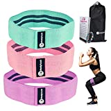 Cheeky Bands Resistance Booty Band Set, 3 Non-Slip Fabric Loop Resistance Bands, Elastic
