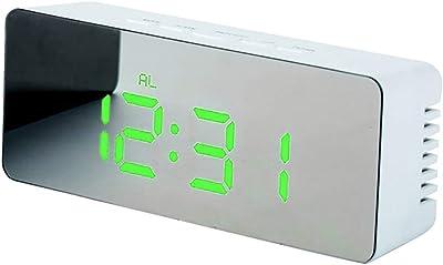 little finger Reloj Despertador Digital con diseño de Espejo de Maquillaje, luz Nocturna, silenciador