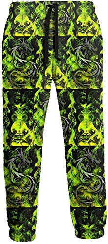 Sunny R Abstract Green Dragon Jogginghose Athletic Jogger Pant Athletic Pant Laufhose für Herren L