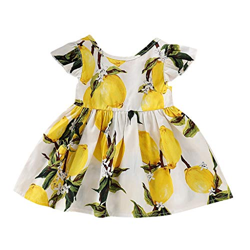 Oliviavan Ropa Niñas Vestido, Verano Bebé Niñas Vestidos Impresión de limón Fiesta Casual de Baile Vestido de Princesa Lindo Partido Dulce Vestidos Bebe Niña