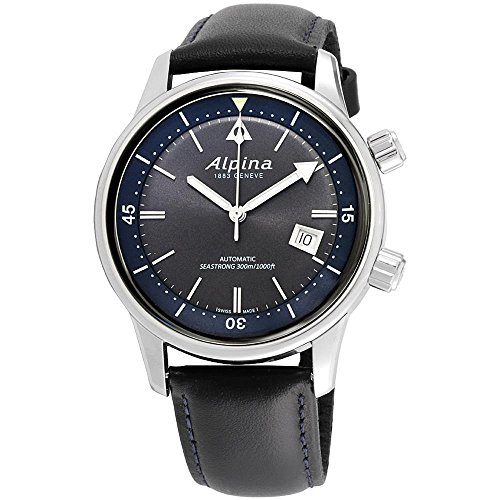 Alpina Seastrong Diver Heritage Grey Dial Leather Strap Men's Watch AL-525G4H6