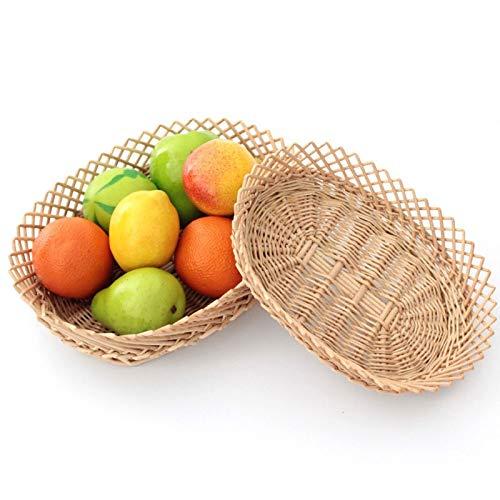 KGWSWE Cestas de sauce, mimbre, cesta de fruta, rebotante, canasta, pizza, ratán, cesta, cesta (tamaño: 34 x 26 x 9)