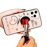 Compatible con iPhone 12 Pro MAX 12 Mini Funda Glitter Diamond Heart Mirror Funda Luxury Bling Crystal Rhinestone Funda de Parachoques de TPU Suave con Cordon (6,7'' iPhone 12 Pro MAX, Rosado)