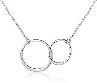 S925 Sterling Silver Two Interlocking Infinity Circles Pendant Necklace,Rolo Chain,18+2