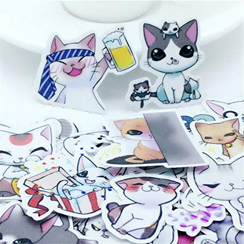 RUIRUI 40 pegatinas de dibujos animados de gato de hadas kawaii calcomanía para teléfono coche, portátil, bicicleta, portátil, mochila, juguete para niños, pegatinas para scrapbooking