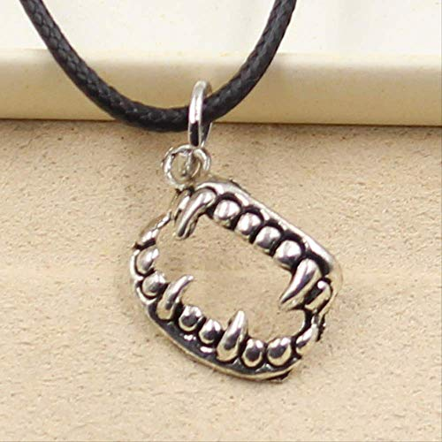 Durable Black Faux Leather Vampire Dracula Fangs Teeth Halloween Pendant Cord Choker Charm Diy Silver Color Necklace Jewelry