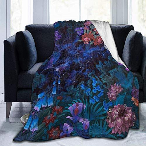 Yuanmeiju Fleece Throw Manta Night Space Magic Garden Galaxy Lightweight Cute Soft Mantas For Sofa Chair Bed Office Travelling Camping
