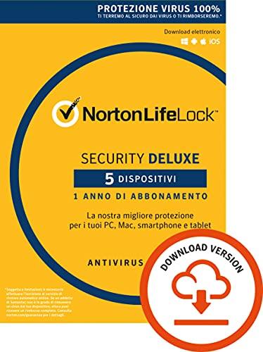 Norton Security Deluxe Antivirus Software 2019 | 5 Dispositivi (Licenza di 1 anno) | Compatibile con Mac, Windows, iOS e Android | Codice d'attivazione via email