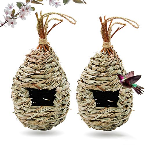 Gute Hummingbird House for Outside Grass Hanging Wren Finch Song Birds House for Nesting Hand Woven Hummingbird Nest for Outdoor Tree Decorations Gardening Gift 2 Pack