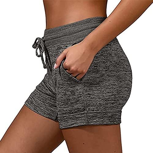 N\P Pantalones cortos deportivos para mujer con cintura elástica y cintura para niñas de algodón