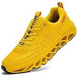LARNMERN Zapatillas de Deporte Hombres Ligero Transpirable Running Zapatos para Correr Gimnasio Casual Sneakers Deportivas(Amarillo 42)