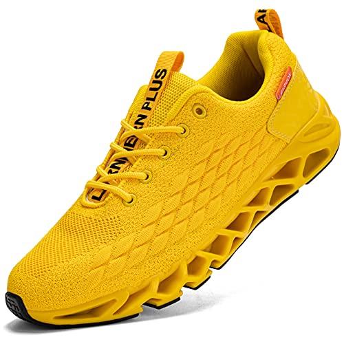 LARNMERN Zapatillas de Deporte Hombres Ligero Transpirable Running Zapatos para Correr Gimnasio Casual Sneakers Deportivas(Amarillo 43)