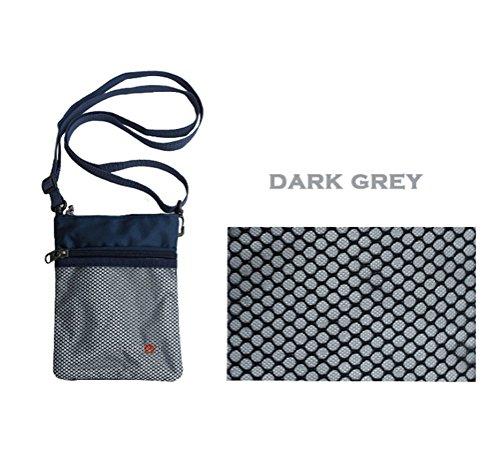 Dreams Mall(TM) Bolsa para passaporte com alça, Dark Grey