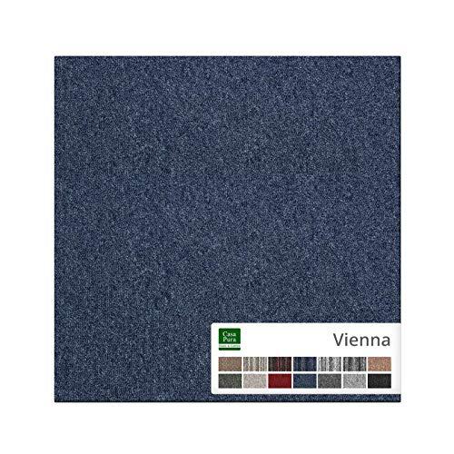 Moquette per Pavimento al Metro - Tappeto Componibile su Misura, Mattonelle in Tessuto per Interni in 14 Colori - 12 pezzi da 50x50 cm (3 m²) - Blu