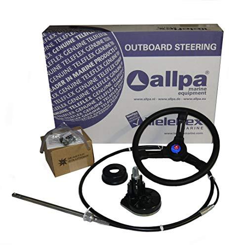 Teleflex Light Duty Steuerung mit Kabel + Steuerrad Riviera schwarz Bootslenkung alle Längen Bootsteuerung Steuersystem Größe 13 Fuß - 3,96m