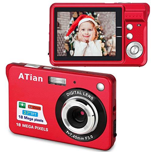 ATian Compactas Cámaras Digitales 2.7 Pulgadas LCD 8X Zoom Digital Anti-vibración Recargable HD Cámara Digital para Estudiantes/Adultos Mayores/niños (Rojo)