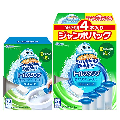 【まとめ買い】 スクラビングバブル トイレ洗浄剤 トイレスタンプ フレッシュソープの香り 本体 (ハンドル1本+付替用1本)+付替用4本セット 30スタンプ分