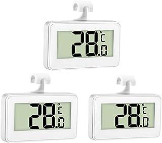 Thlevel 3 Piezas Termómetro para Frigorífico Termómetro para Congelador o Nevera Impermeable con Gancho, Pantalla LCD Fáci...