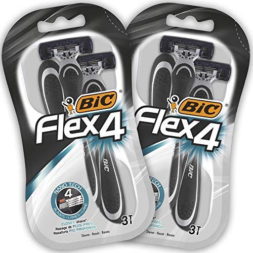 BIC Flex4 Maquinillas Desechables para Hombre - Paquete de 2 Packs de 3