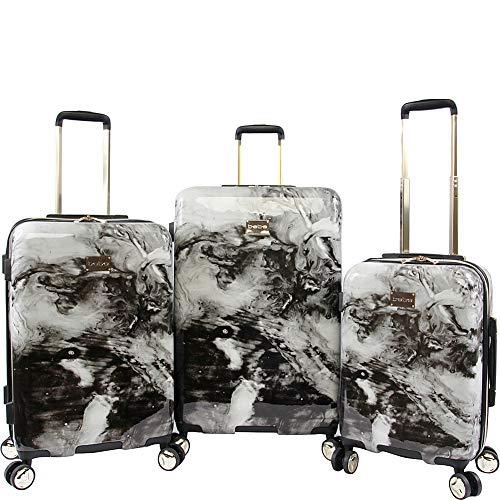 BEBE Luggage Teresa 3pc Spinner Suitcase Set, Black Marble, One Size
