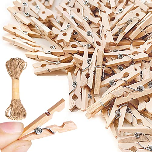 Mini Clothespins, Mini Clothes Pins for Photo Natural Wooden Small Picture Clips for Crafts 1 Inch (2.5 cm)150 PCS Tiny Pegs with Jute Twine String Decorative Wood Clips for Wall Hanging Pictures