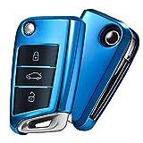 OATSBASF Auto Caso Chiave VW,Copertura Chiave Auto VW Golf 7,Car Key Case per VW Polo Skoda Seat 3 Pulsanti(Blu)