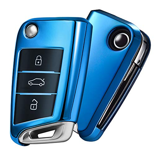 OATSBASF Autoschlüssel Hülle VW,VW Golf 7 Schlüsselbox,Schlüsselhülle Cover für vw Polo Skoda Seat 3-Tasten (Blau)[Verpackung:MEHRWEG]