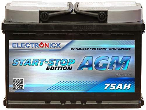 Electronicx AGM Autobatterie Starterbatterie Batterie Start-Stop 75AH 12V 750A