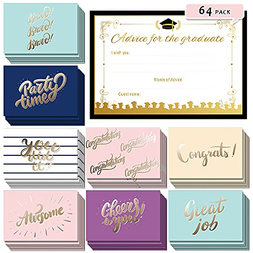 2021 Graduation Advice Cards for Graduate, 64 Pack Graduation Cards, Graduation Party Supplies Decorations, Congrats/Congratulations Grad Wish Cards, High School/ College Graduation Party Favors