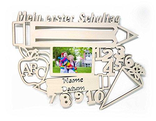 Schlummerlicht24 Licht & Deko Bilderrahmen 10x15 cm Geschenk zur Einschulung mit Namen & Datum personalisiert I Holz Kinder Geschenke erster Schultag