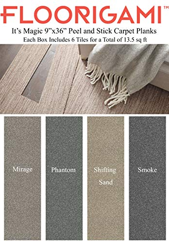 Floorigami - It's Magic by Shaw Floors Set of 6 Carpet Planks (13.5 sq ft) Peel and Stick for Easy Do-it-Yourself Installation (Shifting Sand)