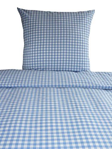 Bettwäsche Landhaus Karo hellblau kariert Bauern 135x200 Frühling Sommer blau