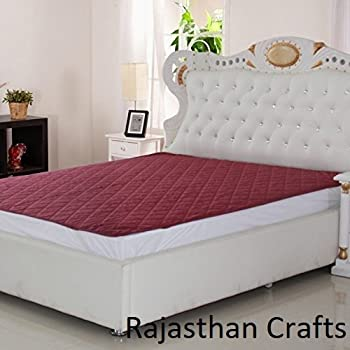Rajasthan Crafts Microfiber Water Resistant and Dustproof King Size Mattress Protector(Maroon, 78x72-inch)