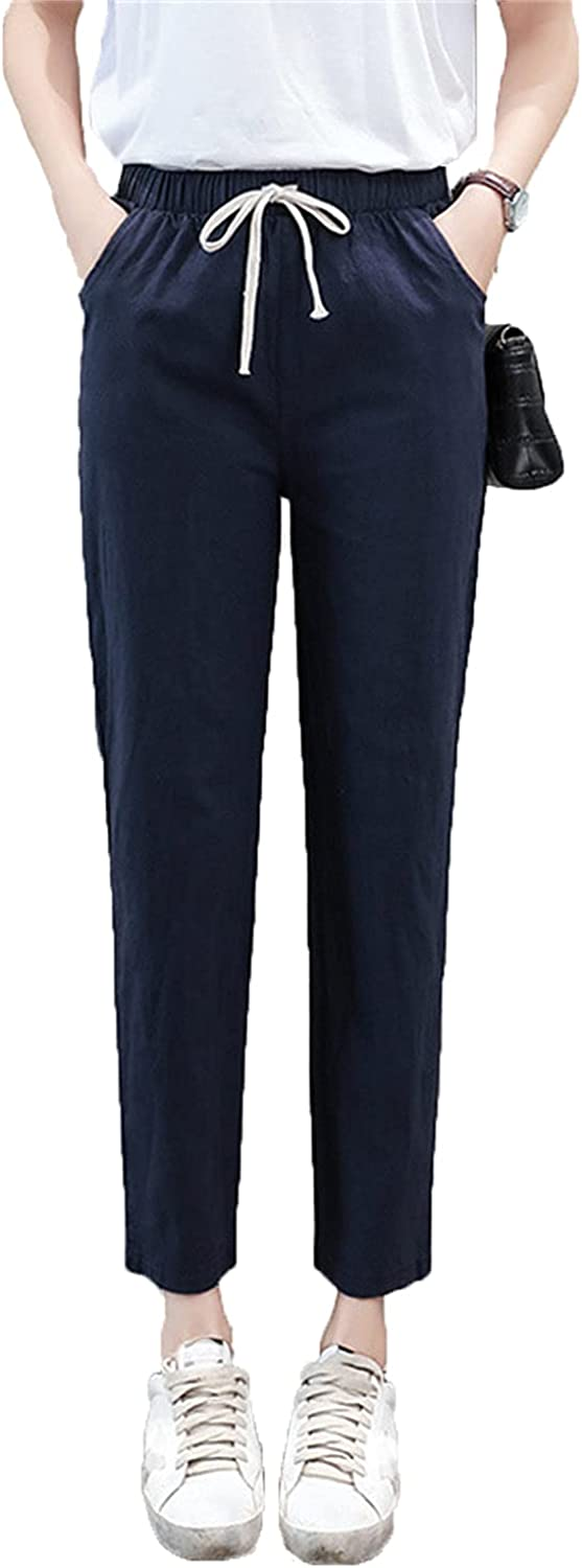 Women's Drawstring Linen Knickers High Waist Solid Loose Casual Elastic Straight Trousers Cropped Soft Flax Pants (Large,Navy Blue)