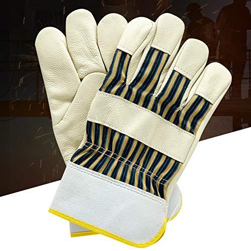 Minvo Vollleder Halblederhandschuhe Arbeitsschutz erste Schicht Lederschutzhandschuhe Kurze Lederhandschuhe-Kurzarm aus halbem Leder mit geteilter Handfläche