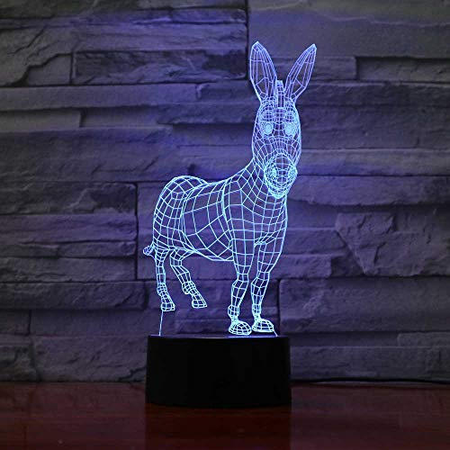 Nocturna Lámpara Donkey 7 Colores Que Cambian 3D Visual Animal Modelado Lámpara De Escritorio Led...