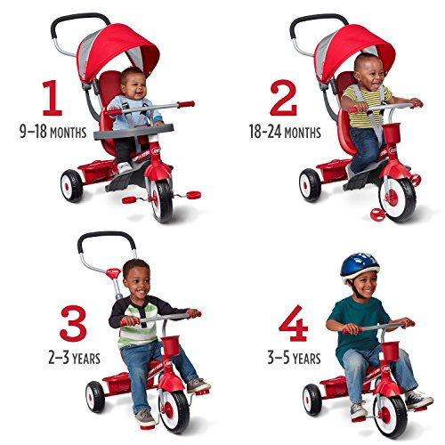 "Radio Flyer 4-in-1 Stroll 'N Trike, Red Toddler Tricycle for Ages 9 Months -5 Years, 19.88"" x 35.04"" x 40.75"""