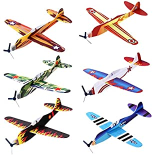 iBaseToy Flying Glider Planes - 6 Different Designs Foam Paper Aeroplanes, Party Bag Fillers for Kids, Party Favours, Carnival Prizes, Birthday Party, School Classroom Rewards, Party Game Toys (Pack of 24)