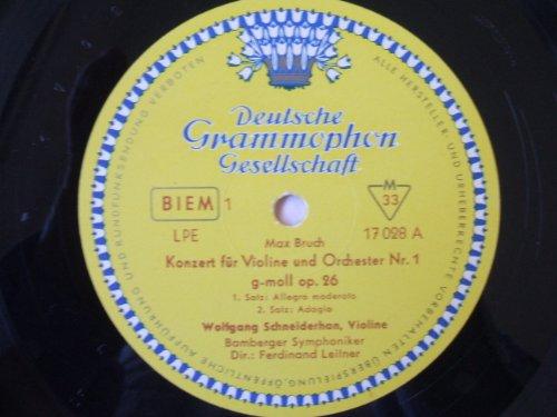 Max Bruch , Wolfgang Schneiderhan , Bamberger Symphoniker , Ferdinand Leitner - Konzert Für Violine Und Orchester Nr. 1 G-Moll Op. 26 - Deutsche Grammophon - LPE 17 028