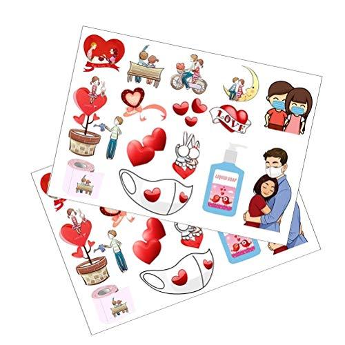 Fyeep Etiquetas Adhesivas de corazón, Etiquetas de Mermelada Etiquetas Adhesivas de Regalo caseras de San Valentín Etiquetas Adhesivas de Regalo Autoadhesivas Etiquetas Adhesivas caseras